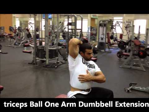 Exercise Ball One Arm Dumbbell Extension / triceps