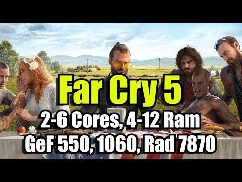 Far Cry 5 на слабом ПК (2-6 Cores, 4-12 Ram, GeForce 550Ti, 1060, Radeon HD 7870)