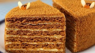 Смотреть онлайн Простой рецепт медового торта