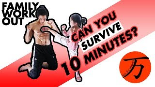 10 minute family fitness challenge, Daddy Daughter full karate conditioning exercise routine 01 by Ten Thousand Method