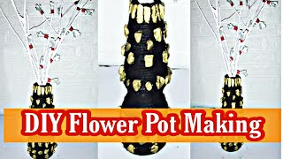 Flower Pot Decoration Ideas - DIY Flower Vase Making At Home With Bottle - Unique And Beautiful DIY