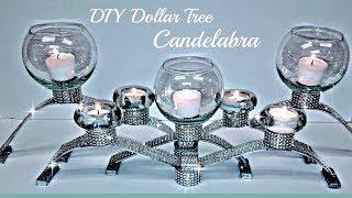 DIY Dollar Tree 💎 GLAM Candelabra Candle Holder    Christmas Bling Centerpiece 💎