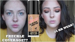 SOAP&GLORY KICKASS ALL DAY WEAR FOUNDATION ON DRY SKIN || FIRST IMPRESSION/WEAR TEST