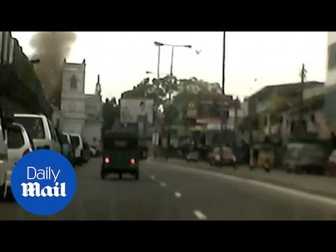 Footage appears to show bomb going off at church in Sri Lanka