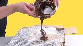 Pour Chocolate Onto Bubble Wrap – The Result Is Unique