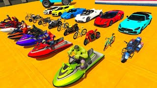 Superhero Racing Cars Motorcycles Water Skiing Amazing Stunts - سبايدرمان القفز والتحدي