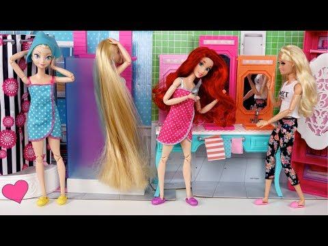 Princesas Rapunzel, Elsa y Ariel se Alistan para ir al Colegio! Nuevos Uniformes!