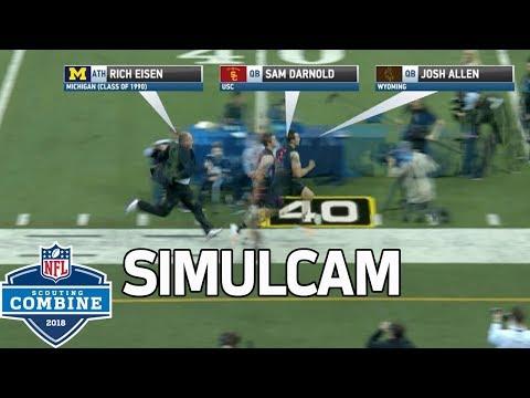 40-Yard Dash Simulcam: Eisen vs. Barkley, Darnold, Shaquem Griffin & More!   NFL Combine Highlights
