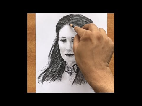 Drawing Melisandre (Red Woman)  - Timelapse | Charcoal Canvas | Indian Jam Project