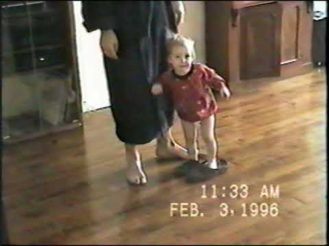 1996 Jan 28 Feb 3  Bri and Ward coloring in NYC kitchen, Bri in Ward's slippers and with doll