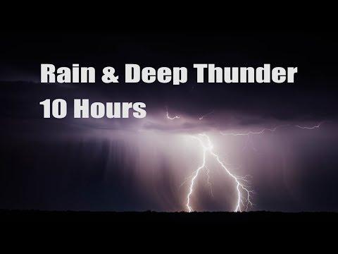 10 Hours - Rain and Deep Thunder - Sleep - Relaxation - Meditation  (Black Screen for Sleeping)