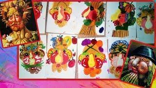 Рисуют дети. Уроки рисования. Овощной портрет. Children painting