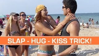 Magic Kissing Prank! SLAP - HUG - KISS Trick! + TUTORIAL!