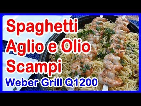 Weber Gas-Grill Q1200  Spaghetti Aglio e Olio mit Scampis. Grillen und Kochen im Wohnmobil