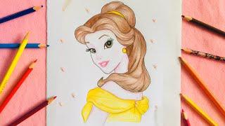 Princess Belle Drawing | Drawing: PRINCESS BELLE | Disney | BUDGET ART
