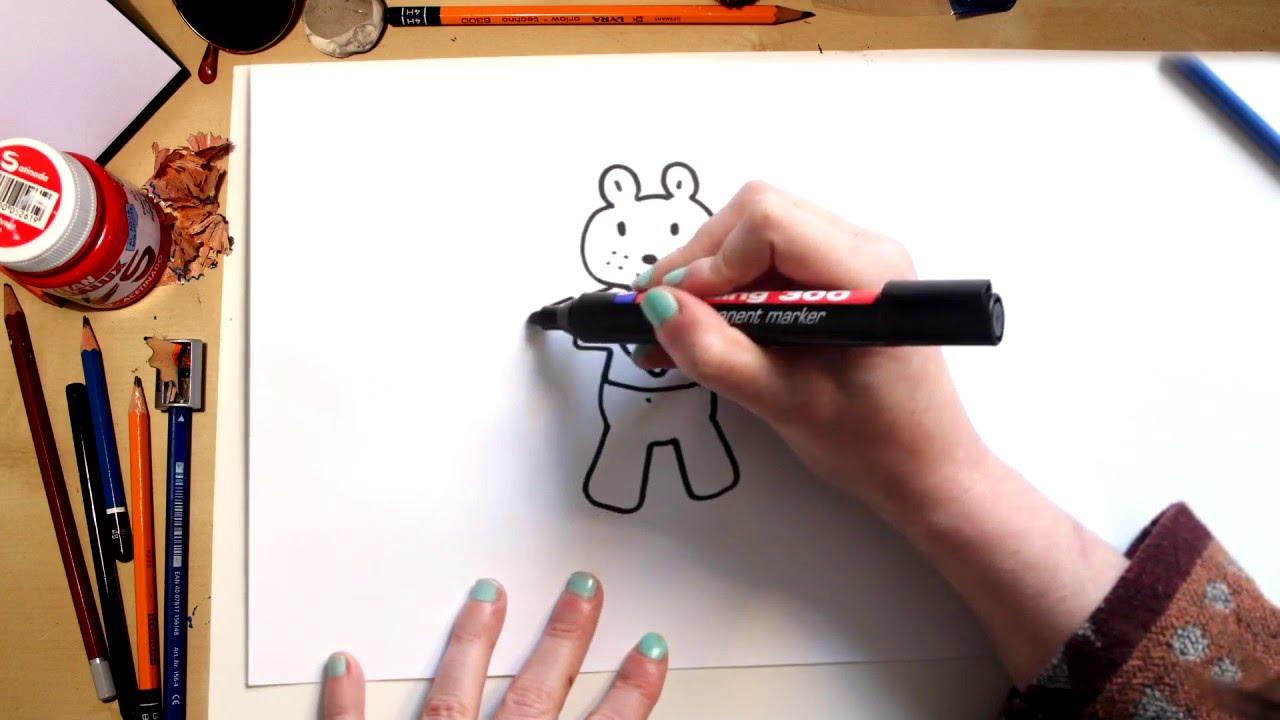 Como dibujar un Oso de San Valentín - dibujos para niños