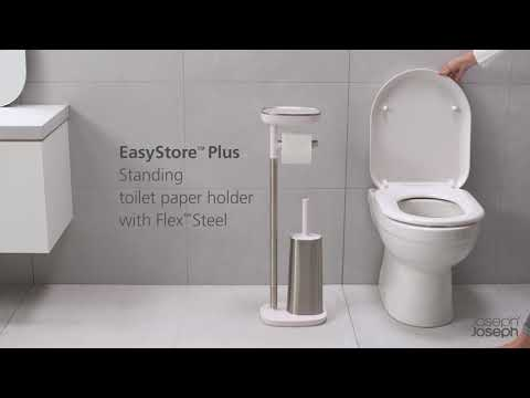 EasyStore Plus Toilet Paper Holder with Flex Steel Toilet Brush