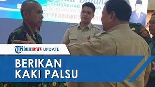 Kunjungan ke Pusrehab, Menhan Prabowo Subianto Hadiahi Kaki Palsu ke Prajurit TNI