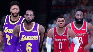 NBA 2K19 - Los Angeles Lakers vs. Houston Rockets - Full Gameplay (Updated Rosters)
