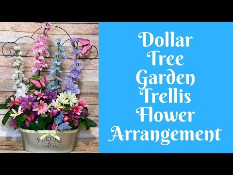 Everyday Crafting: Dollar Tree Garden Trellis Flower Arrangement