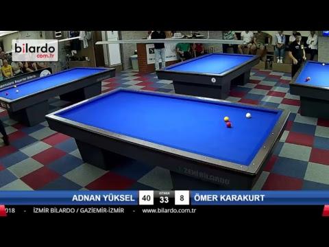 ADNAN YÜKSEL & ÖMER KARAKURT Bilardo Maçı - İZMİR BİLARDO 3 BANT TÜRKİYE ŞAMPİYONASI-Çeyrek Final