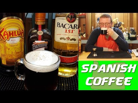 Video Spanish Coffee Flaming Drink Recipe | Kahlua Recipes & Bacardi 151 Recipes