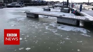 UK weather: Sea freezes over at Isle of Wight harbour - BBC News