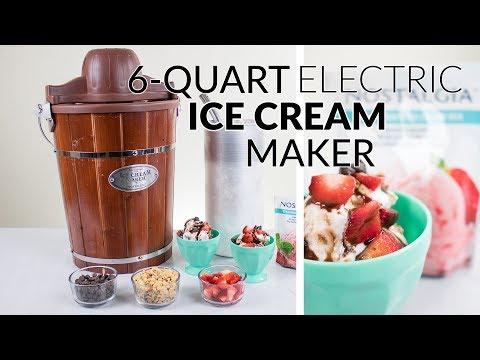 , Nostalgia ICMP600WD 6-Quart Wood Bucket Ice Cream Maker