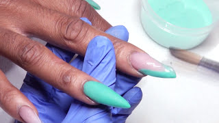 How To Teal Deep V French Acrylic Nails + Talkthrough