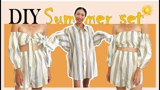 DIY Refashion Mens Shirt Into 2 Piece Summer Set - Step By Step Tutorial