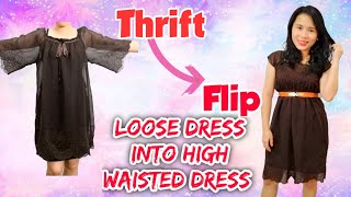 Thrift Flip // DIY Transformation // Loose Dress Into High Waisted Dress