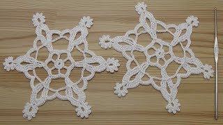 Вязание СНЕЖИНКИ крючком  How to crochet snowflake