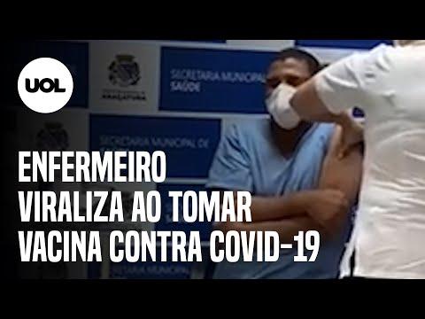 Enfermeiro com pavor de agulha faz escândalo ao tomar vacina contra a Covid