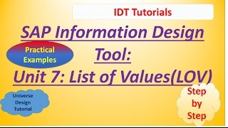 SAP IDT Unit 7 : List of Values: Practical Example