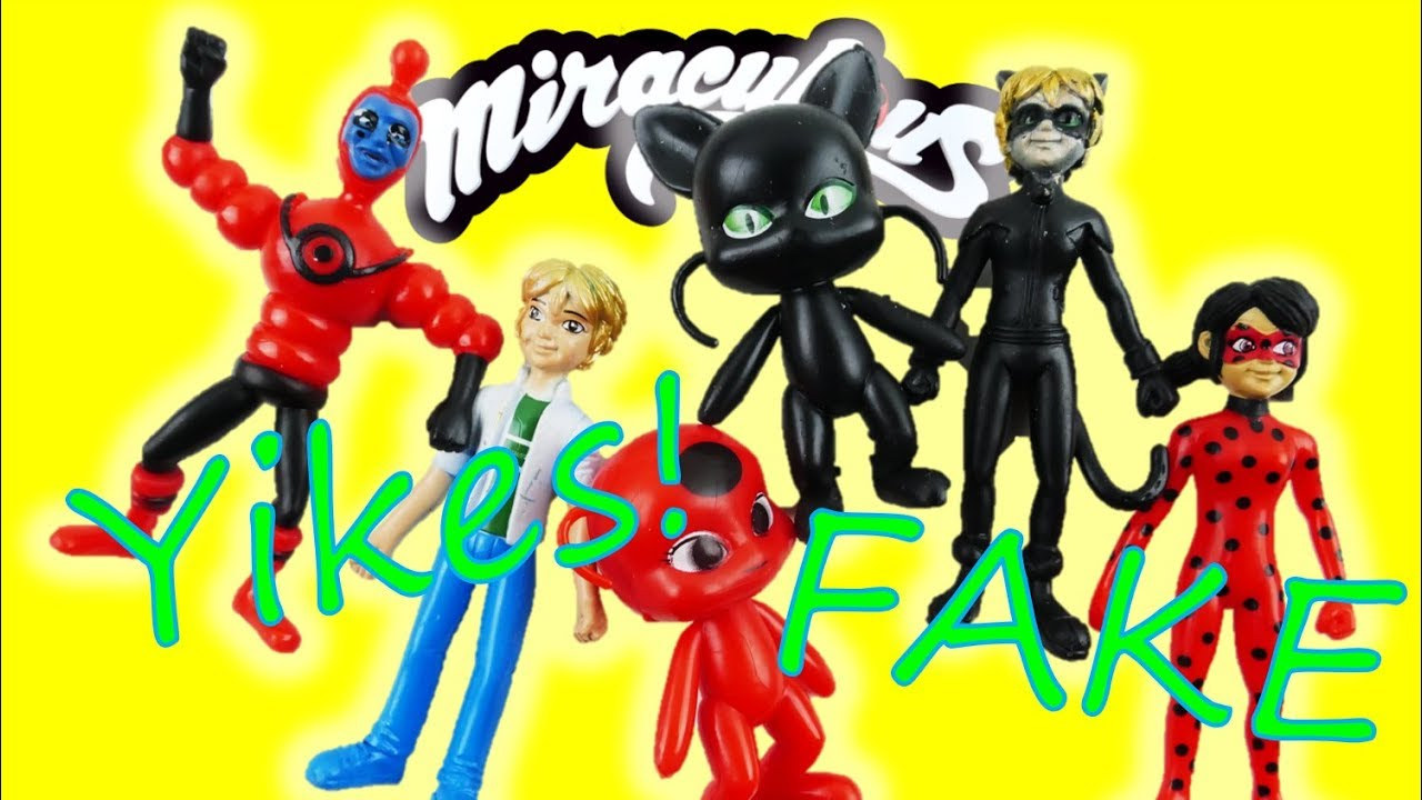 YIKES! Fake Miraculous Ladybug and Cat Noir Toys Figures! Tiki Plagg Adrien