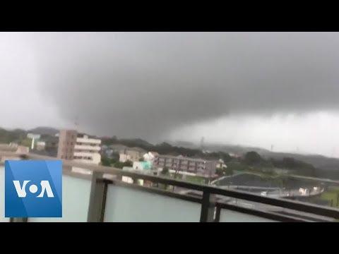 Tornado Churns Over Ichihara as Typhoon Hits Japan