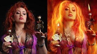 Speed run compositing Photoshop. Fire woman. Скоростной фотомонтаж в фотошопе