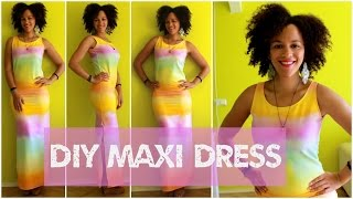 DIY Rainbow Maxi Dress In 15 Min | DIY Clothes