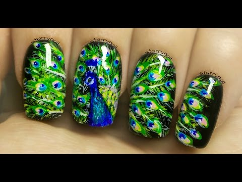 Peacock Freehand Nail Art Tutorial