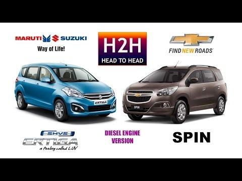 H2h 98 Maruti Suzuki Ertiga Shvs Vs Chevrolet Spin H2h Atdc