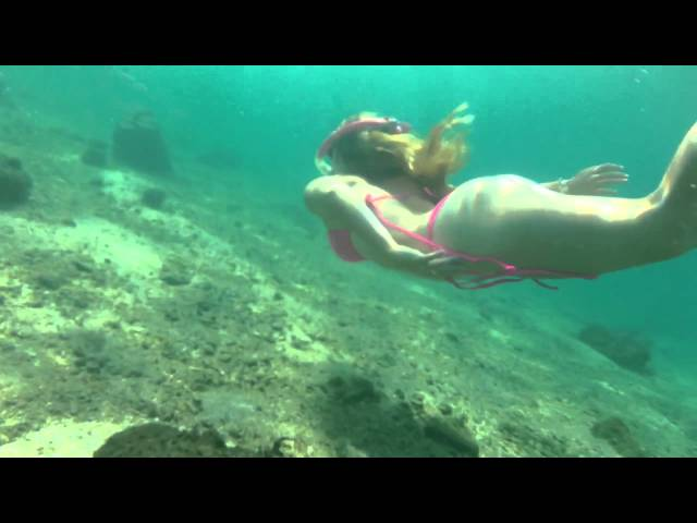 Trina Mason snorkeling blue heron bridge with John bowyer