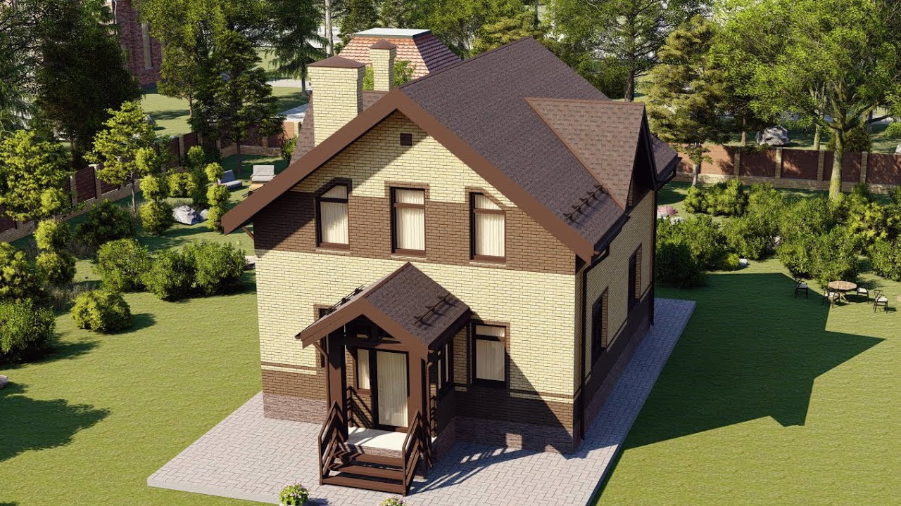 Проект дома с мансардой из газобетона 119м2