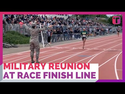 Military Reunion At Relay Race Finish Line