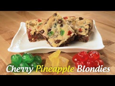 Candied Cherry Pineapple Blondies