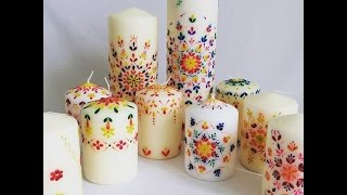 Candle Decoration With Hot Wax. Lace Design