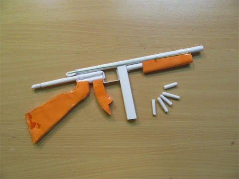 How to Make a Paper Thompson M1A1 Machine Gun that shoots paper Bullet