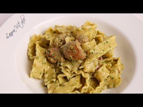 Pasta with Sausage & Creamy Pesto Recipe – Laura Vitale – Laura in the Kitchen Episode 391