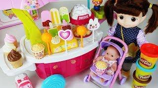 Baby Doll Ice Cream Cart Car And Play Doh Popcorn Machine Toys Play   토이몽