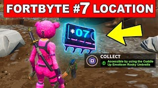 ACCESSIBLE BY USING THE CUDDLE UP EMOTICON INSIDE A ROCKY UMBRELLA - Fortnite Fortbyte 7 Location