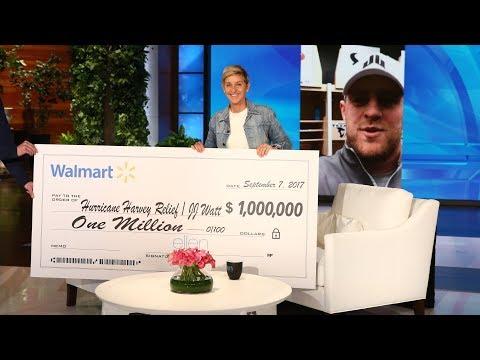 Ellen's HUGE Hurricane Harvey Donation to J.J. Watt